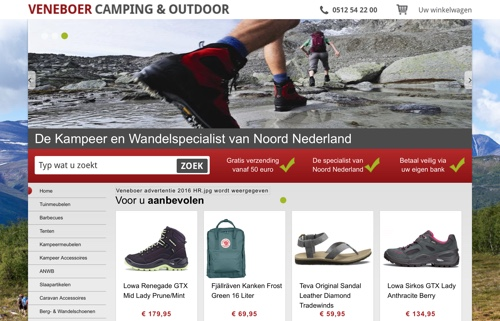 veneboer camping & outdoor website