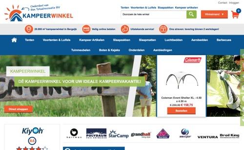 de kampeerwinkel website